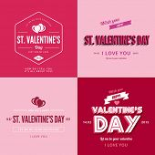 St. Valentine day text Vintage Retro Typography Lettering Design Greeting Card collection.  Valentine's day Vector illustration long shadow style