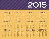 2015 year calendar. Editable illustration.