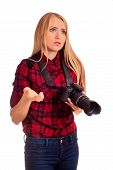 Female Photographer Have Trouble With Camera - Isolated On White