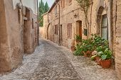 old alley in Montefalco, Umbria, Italy