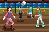 Teenagers Roller Skating In An Indoor Arena