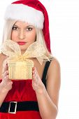 Portrait Of A Casual Woman In A Suit Santa Girl Holding A Gift