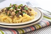 stock photo of morels  - Spiral pasta with morel mushrooms on a plate - JPG