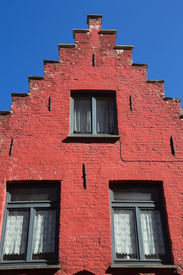 picture of gable-roof  - Red gable roof of the historic house  - JPG