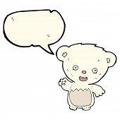 foto of bear-cub  - cartoon polar bear cub waving with speech bubble - JPG