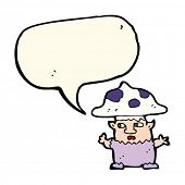 picture of fairy-mushroom  - cartoon little mushroom man with speech bubble - JPG