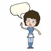 stock photo of maids  - cartoon maid with speech bubble - JPG