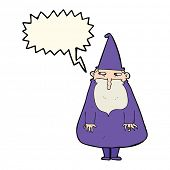 picture of warlock  - cartoon wizard with speech bubble - JPG