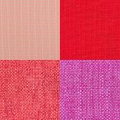 image of lint  - Set of pink fabric samples texture background - JPG