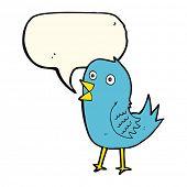 image of bluebird  - cartoon bluebird with speech bubble - JPG