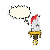 picture of bloody  - bloody knife cartoon character with speech bubble - JPG