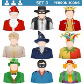 stock photo of clown face  - Person icons including Santa - JPG