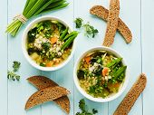 image of leek  - Soup with pearl barley nettle carrot and leek - JPG