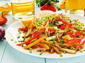 pic of vinegar  - Spring salad with bell pepper spanish onion leek and blackberry vinegar - JPG