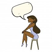 picture of stool  - cartoon woman sitting on stool with speech bubble - JPG