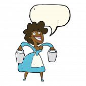 image of milkmaid  - cartoon milkmaid carrying buckets with speech bubble - JPG