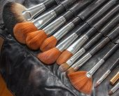 foto of bristle brush  - set of professional makeup brushes with natural bristles in a black cover - JPG
