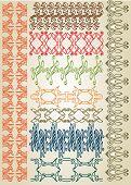 picture of art nouveau  - set pattern element art nouveau color and black - JPG