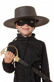 image of zorro  - young boy dressed in zorro halloween costume - JPG