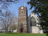 image of backwoods  - Church with trees photographed at Topsham in Devon - JPG