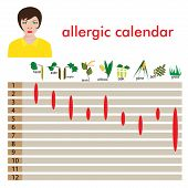 stock photo of allergy  - calendar of  allergy seasons - JPG