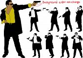 picture of guns  - silhouette of man with gun and and suit - JPG