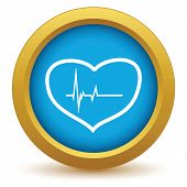 pic of beats  - Gold heart beating icon on a white background. Vector illustration