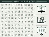 stock photo of universal sign  - 100 business line icons set over beige background - JPG