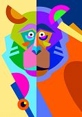 stock photo of monkeys  - abstract original monkey drawing in flat style and pop art - JPG