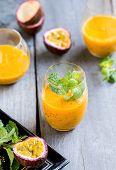 stock photo of mango  - Mango with Passion fruit smoothie by fresh ingredients - JPG