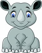 picture of rhino  - Vector illustration of Cartoon cute rhino sitting - JPG