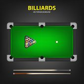 foto of pool ball  - Billiard balls in triangle and two cues on a pool table - JPG