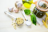 pic of pesto sauce  - Homemade basil pesto sauce with fresh ingredients.