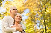 family, age, season and people concept - happy senior couple hugging over autumn trees background poster