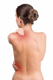 picture of red back  - Naked woman with pain in neck and back on white background - JPG