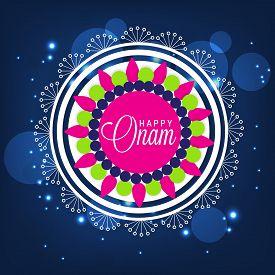stock photo of pookolam  - illustration of a colorful Rangoli background for Onam celebration - JPG