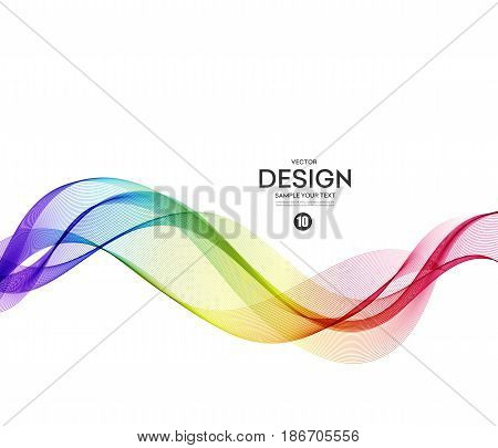 poster of Abstract wave vector background, rainbow waved lines for brochure, website, flyer design. Spectrum wave. Rainbow color