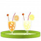 Orangeade and lemonade on the plate, isolated on white