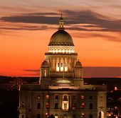 Ri State House At Sunset