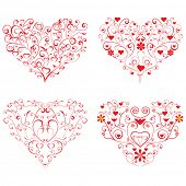 Four different valentine hearts