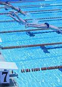 competição de natação, o salto de partida