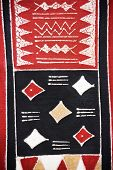 Tribal craft, traditional african motifs painted on rugged textile