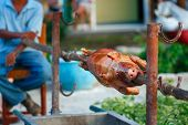 whole grill piglet pig on a roaster skewer outdoor with a man on background, shallow DOF