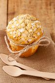 poppy seed muffin in rustic style, shallow dof