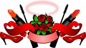 Red Roses, High Heels, Lipstick, Mascara, Scroll And Nimbus - Woman Essence. Vector Illustration. No Meshes.