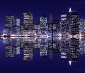 picture of new york night  - New York City Skyline at Night light - JPG