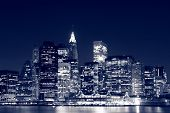 stock photo of new york skyline  - Manhattan Skyline At Night - JPG