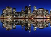 stock photo of new york night  - Manhattan Skyline At Night - JPG