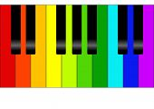picture of rainbow piano  - Editable vector colorful piano background - JPG
