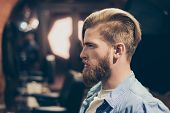 Постер, плакат: Advertising Barbershop Concept Profile Side Portrait Of Confident Handsome Red Bearded Young Man H